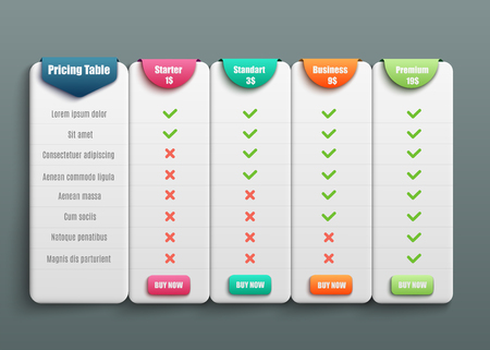 Illustration pour Pricing table for four products or services with description in 3d realistic style - isolated vector illustration of comparison chart of various business plans template for web site. - image libre de droit