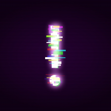 Ilustración de Neon exclamation mark with glitch effect abstract style, vector illustration isolated on black background. Illuminated distorted glitch exclamation point, modern glowing design element - Imagen libre de derechos