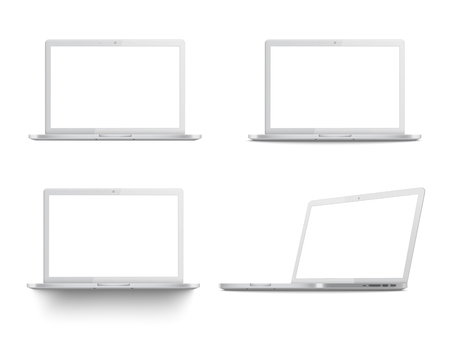 Illustration for Set of white laptop mockups, realistic templates with blank screen from different angles, four positions of modern portable computers - isolated vector illustration on white background - Royalty Free Image