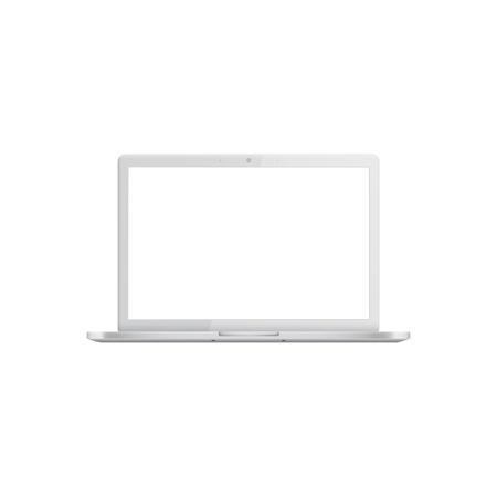 Illustration pour White laptop with blank screen, realistic mockup of open silver modern portable computer, empty template of mobile digital equipment. Vector illustration isolated on white background - image libre de droit