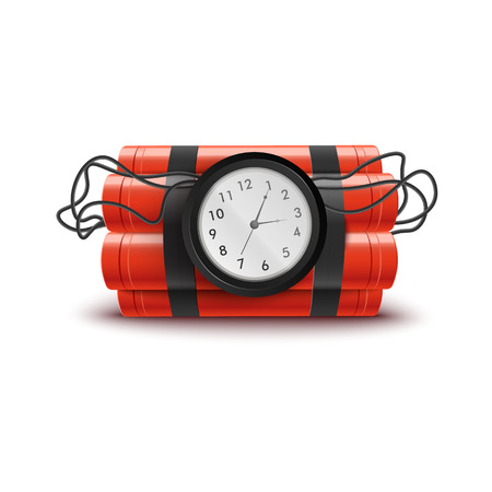 Ilustración de Explosive red dynamite sticks with clock and wires. Explosion themed isolated vector illustration on white background with timer until bomb detonation, dangerous weapon ready to explode. - Imagen libre de derechos
