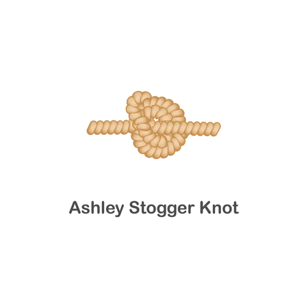 Ilustración de Type of nautical or marine node ashley stogger knot for rope with a loop. Type of noose nautical knot, isolated vector marine illustration on white background. Rope with loop for web design. - Imagen libre de derechos