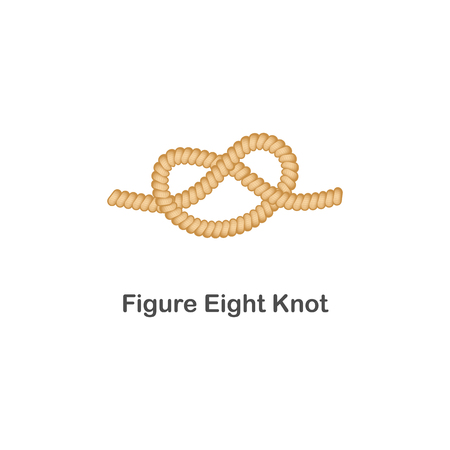 Ilustración de Type of nautical or marine node figure eight knot for rope with a loop. Type of noose nautical knot, isolated vector marine illustration on white background. Rope with loop for web design. - Imagen libre de derechos