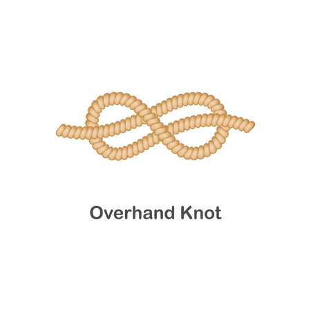 Ilustración de Type of nautical or marine node overhand knot for rope with a loop, isolated vector realistic sea illustration on white background. - Imagen libre de derechos