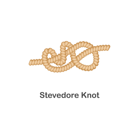 Ilustración de Type of nautical or marine node stevedore knot for rope with a loop, isolated vector realistic sea illustration on white background. - Imagen libre de derechos
