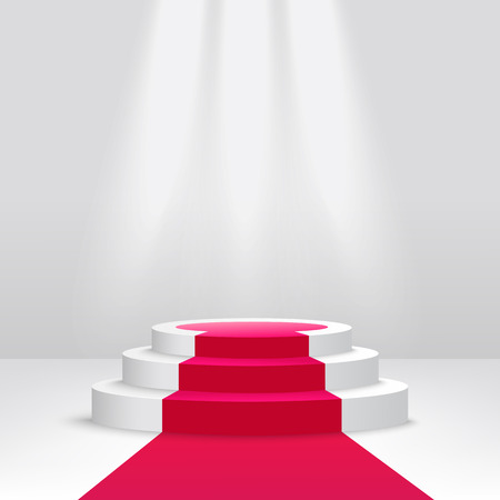 Illustration pour Round podium or pedestal with spotlight scene 3d vector illustration isolated on white background. Empty ceremony illuminated stage covered with red carpet. - image libre de droit