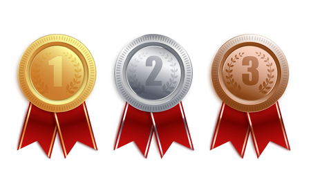 Illustration for Set of gold, silver, bronze badges with red ribbon. Competition winner award collection for first, second and third place, medal coin 3d design isolated on white background, vector illustration. - Royalty Free Image