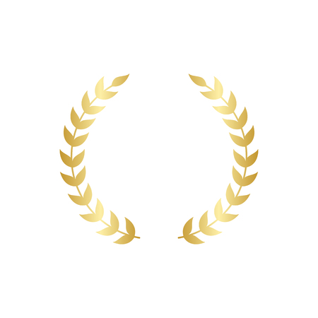 Illustration for Golden circular laurel foliate or olive branches greek wreath vector illustration isolated on white background. A winner award and achievement heraldry symbol. - Royalty Free Image