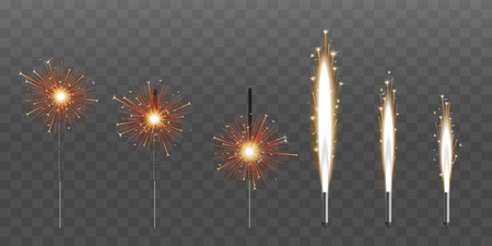 Illustration for Firework fountain of sparks salute or pyrotechnic candle vector illustrations set of six isolated on black background. Bengal candle fire 3d realistic party or event element. - Royalty Free Image