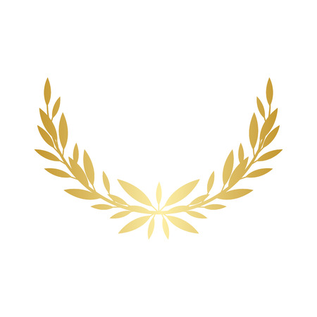 Illustration for Greek laurel or olive wreath semicircle for the winners and champions award ceremony vector illustration isolated on white background. element. Leaves golden frame icon. - Royalty Free Image