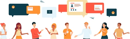 Ilustración de Cartoon characters chat via speech bubbles on phone app, international business communication dialogue, group internet talk banner for social media, hand drawn vector illustration on white background - Imagen libre de derechos