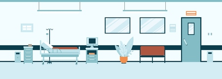 Illustration for Empty hospital hall or corridor interior flat style, vector illustration. Clinic room or ward inside with with furniture and equipment, modern medical office - Royalty Free Image