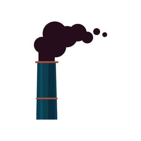 Ilustración de An isolated icon or symbol of a factory smoking pipe or chimney. Industrial pollution of the environment and air by the plant and factory. Isolated vector illustration. - Imagen libre de derechos