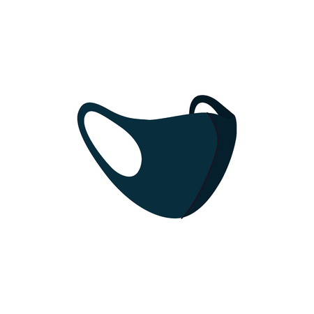 Illustrazione per Facial black masks from pollution air, medical masks n95 to health protect against smog and dust. Isolated vector illustration. - Immagini Royalty Free