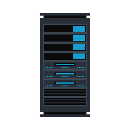 Illustration pour Vector server rack icon. Data warehouse, storage center hardware design element. Information technology hub. Database network equipment. Cloud computing host server. - image libre de droit