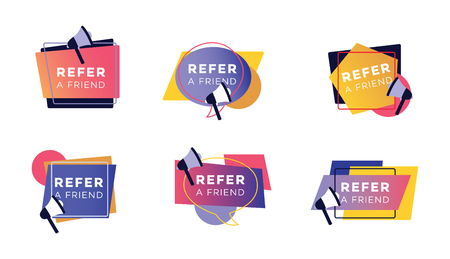 Illustration for Refer a friend colorful sticker set, collection of icons and signs for customer referral program for marketing and advertising, modern geometric shapes with megaphone, isolated vector illustration. - Royalty Free Image