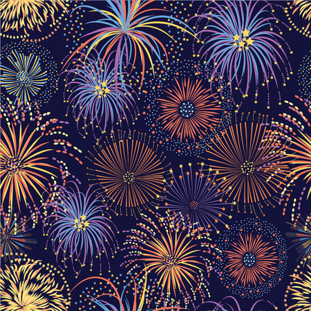 Ilustración de Fireworks seamless pattern with bright stars and colorful explosions, party celebration background on night sky, colorful hand drawn cartoon style vector illustration for festival or holiday event - Imagen libre de derechos