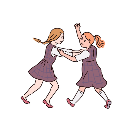 Illustration for Conflict and fight, violence and bullying between children at school, two little teen girls are fighting, vector cartoon illustration. - Royalty Free Image