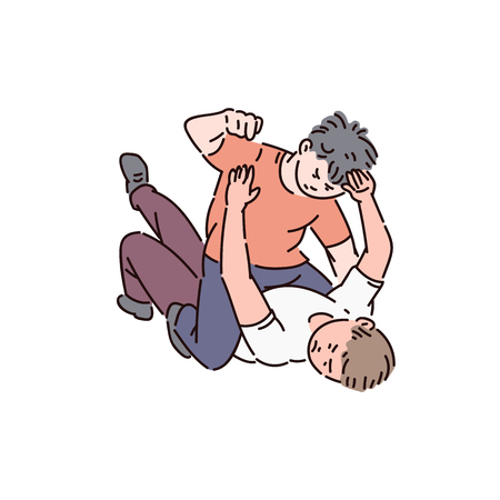Illustration for Two kids of a bully boy are fighting, childrens fight and bullying at school, vector cartoon illustration. - Royalty Free Image
