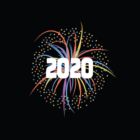 Illustration pour Bright fireworks or firecracker on a black background for a happy new year party 2020. Festive vector illustration of new year fireworks 2020. - image libre de droit