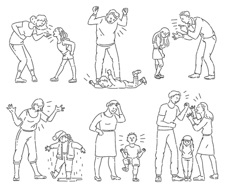 Illustration pour Set of angry parents arguing with child. Black and white collection of mother and father screaming at a kid or son throwing a tantrum, coloring book line art style isolated cartoon vector illustration - image libre de droit