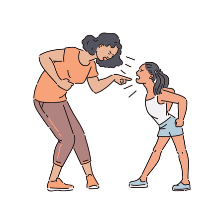 Ilustración de Adult woman and young teen girl stand arguing and shouting sketch style, vector illustration isolated on white background. Mother holding by stomach and scolding aggressive yelling daughter - Imagen libre de derechos