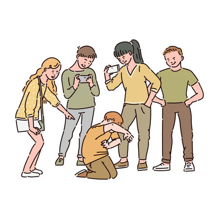 Illustrazione per A group of children or teenagers are bullying a boy and filming this on video on a smartphone. Social and cyber bullying at school, child abuse, vector cartoon illustration. - Immagini Royalty Free
