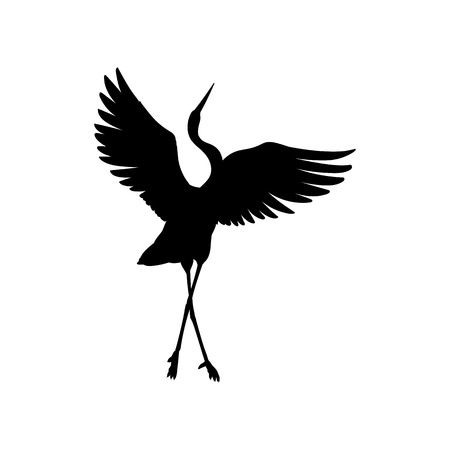 Ilustración de Silhouette or shadow black ink symbol of a crane bird or heron standing and dancing icon. Stork outline cutting template or creative background vector illustration isolated on white. - Imagen libre de derechos