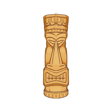 Ilustración de Hawaiian Tiki statue - wooden totem face sculpture by polynesian cultures, tropical ethic symbol decoration from Hawaii, cartoon isolated vector illustration on white background. - Imagen libre de derechos