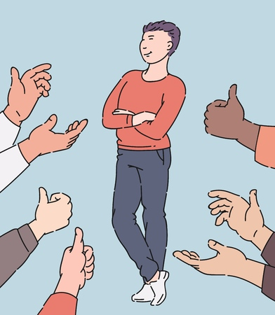 Illustration pour Happy man receiving approval and recognition, cartoon character surrounded by hands in applause and thumbs up, employee who people approve, isolated hand drawn vector illustration - image libre de droit