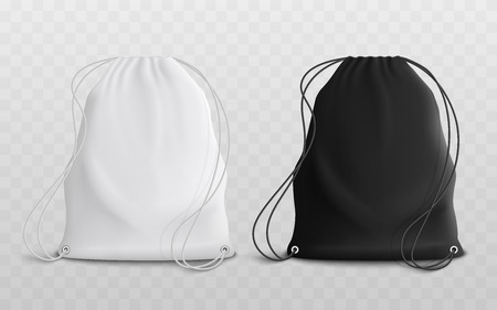 Illustration pour Set of blank drawstring bags for sport or school cloth and shoes mockup 3d realistic vector illustration. Pouch or textile pack in black and white set of two template. - image libre de droit