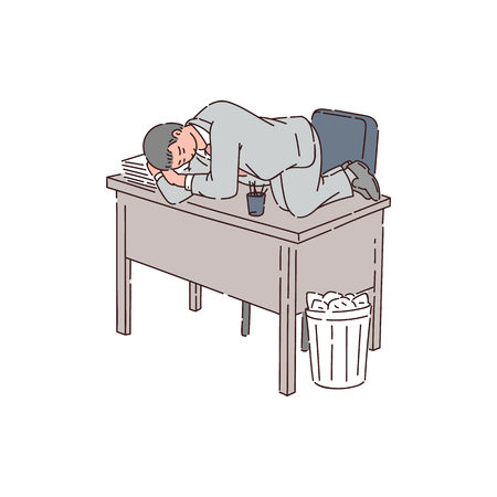 Illustration pour A tired man is an office worker, employee or businessman sleeping on an office table because of insomnia. Flat vector illustration in cartoon style. - image libre de droit