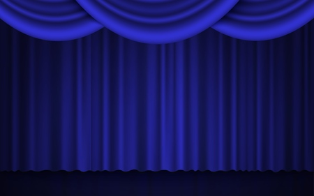 Illustration pour Spotlight on stage theater or cinema closed curtain 3d realistic vector illustration in blue and black. Performance or awards ceremony show opening classic concept. - image libre de droit