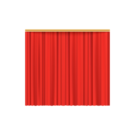 Illustration for Red velvet curtain background for luxury theater performance event and cinema premiere, realistic scarlet silk fabric texture, isolated vector illustration on white background. - Royalty Free Image
