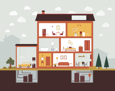 Ilustración de Big house cut section with home interior design and furniture. Building construction plan with garage, bedroom, bathroom, office, kitchen, basement - vector illustration - Imagen libre de derechos