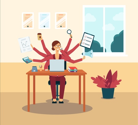 Illustrazione per Multitasking business woman or office manager administrator dispictured as a character with several hands flat vector illustration. Effective employment concept. - Immagini Royalty Free