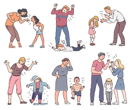 Illustrazione per Set of angry parent with emotional child, father and mother screaming at son or daughter, collection of different types of conflict. Isolated vector illustration in cartoon sketch style. - Immagini Royalty Free