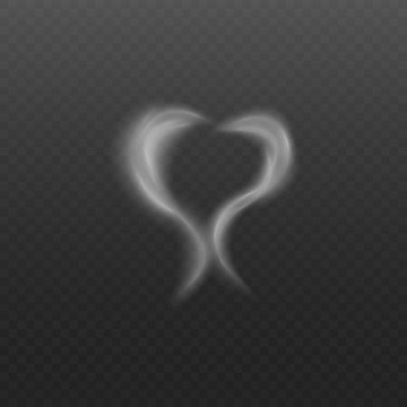 Ilustración de Transparent white steam fog in heart shape, two waves of cigarette smoke or vapor smog in romantic love symbol, realistic vector illustration isolated on transparent background - Imagen libre de derechos