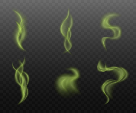 Illustration for Set of green smoke clouds on transparent background, realistic vapor steam collection in curvy motion shapes, toxic mist or bad smell vapor - isolated vector illustration - Royalty Free Image