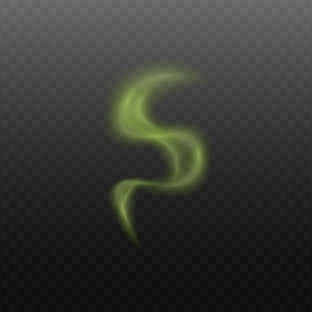 Illustrazione per Green smoke steam cloud in abstract curvy shape isolated on transparent background. Bad smell or stench sign or toxic element vapor - realistic vector illustration - Immagini Royalty Free