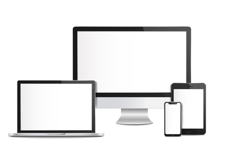 Ilustración de Realistic blank computer devices with screens, templates and mockups of mobile phone and tablet, desktop monitor and laptop. Computer devices and smartphone, 3d gadget, vector illustration. - Imagen libre de derechos