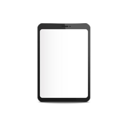 Illustration pour Black tablet mockup with blank white screen, realistic digital device display isolated on white background. Modern technology equipment border - vector illustration - image libre de droit