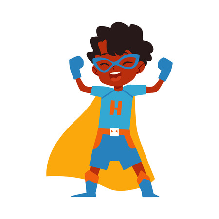 Ilustración de African kid little boy superhero costume standing raised arms cartoon style, vector illustration isolated on white background. Boy child dressed in yellow cape and blue mask and gloves in winner pose - Imagen libre de derechos