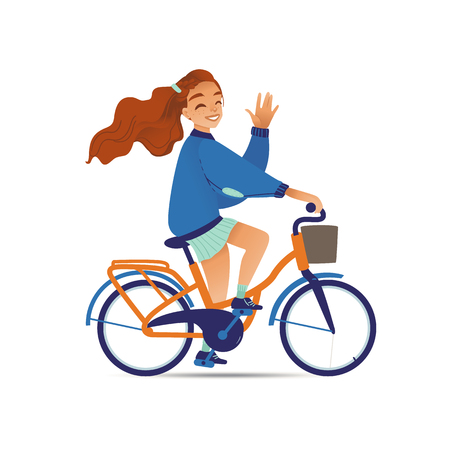 Illustrazione per Young pretty girl or woman rides on a bicycle or bike flat cartoon vector illustration isolated on white background. Happy summer cyclist in concept of relaxation and leisure. - Immagini Royalty Free