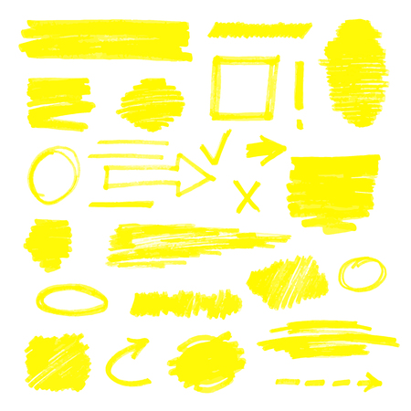 Ilustración de Permanent marker drawing set, highlighter sketch element collection isolated on white background. Arrow, circle, square, rectangle scribble elements hand drawn for doodling - vector illustration - Imagen libre de derechos