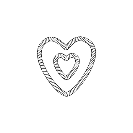 Illustration pour The form and shape of the heart out of the loop and rope knot, rope or cable. The object and the heart icon from the knot of marine rope and twine. Isolated vector illustration on white background. - image libre de droit