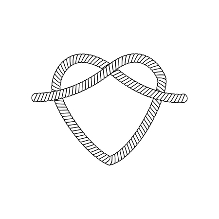 Ilustración de The form and shape of the heart out of the loop and rope knot, cord or cable, isolated vector illustration. - Imagen libre de derechos