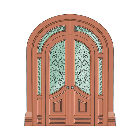Illustration for Ornate double door with patterned stained glass, old European architecture entrance with decorative ornament and old arch facade, isolated hand drawn flat vector illustration on white background - Royalty Free Image