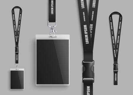 Ilustración de Realistic ID card mockup with blank photo and name identification badge. Set of identity pass lanyard parts design closeup with plastic clasp on black neck strap - isolated vector illustration - Imagen libre de derechos