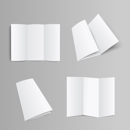 Illustration pour Blank trifold pages brochure, booklet or leaflet folded and unfolded front and opposite side 3D realistic mockup vector illustration on grey background with clipping pass. - image libre de droit